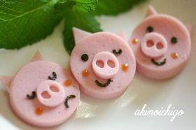 Three little pigs bento 三匹の子豚(キャラ弁おかず)