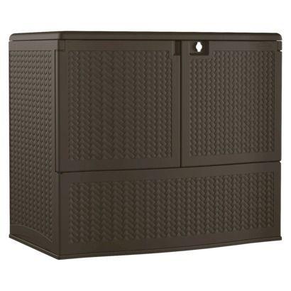 Resin Wicker Storage Buffet Brown Suncast Decks