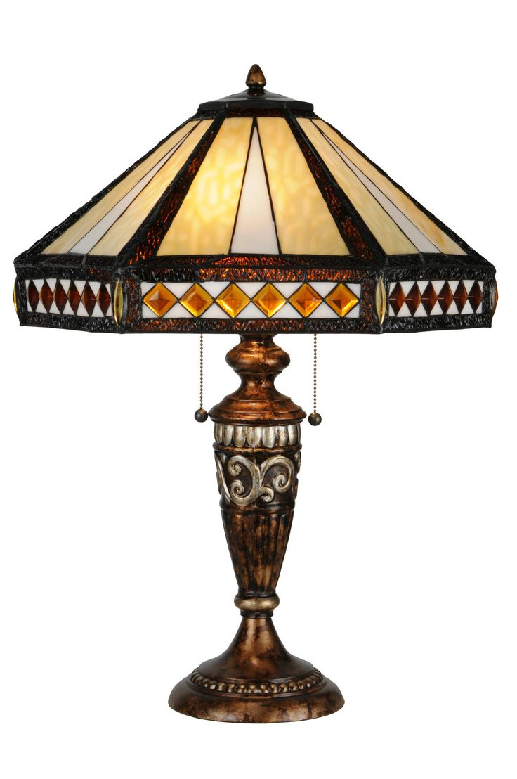 Antique wooden table lamps - Meyda Handcrafted 26 5 In Diamond Mission Table Lamp