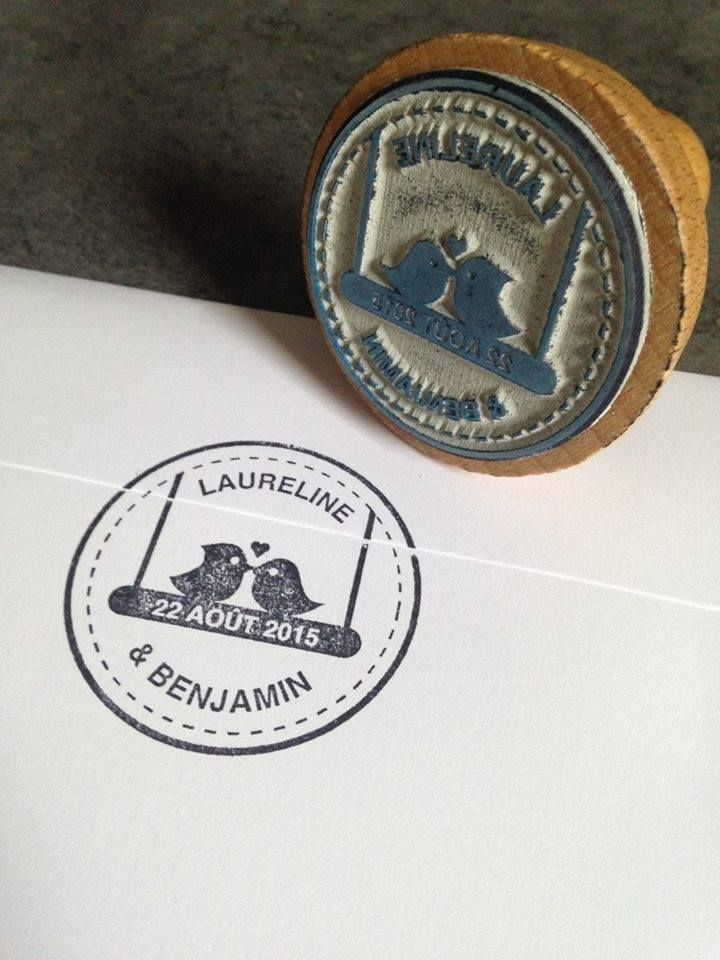 Tampon 100% personnalisé pour Laureline et Benjamais - stamps - création unique   https://www.facebook.com/lespetitsmooceane/