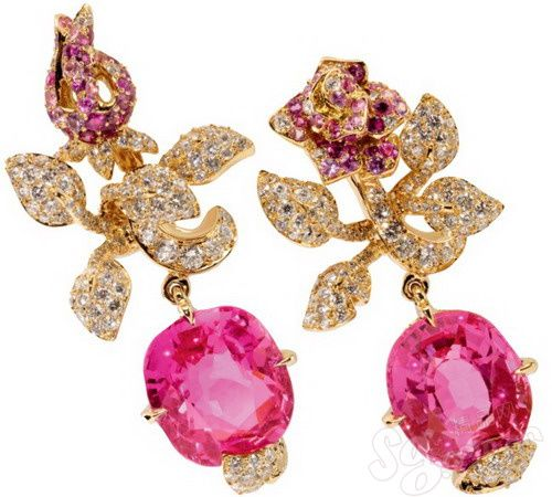 I'd like to have these roses in my garden. Dior Rose sapphire earrings