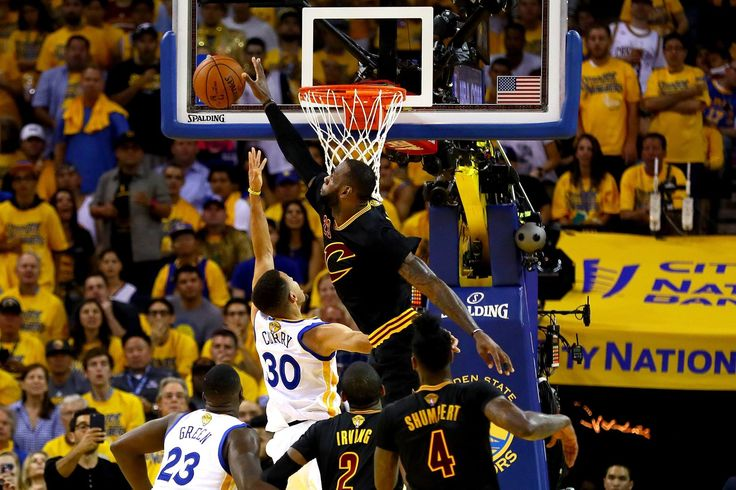 AKLAND, CA - JUNE 19: LeBron James #23 of the Cleveland Cavaliers blocks a shot by Stephen Curry #30 of the Golden State Warriors in Game 7 of the 2016 NBA Finals at ORACLE Arena on June 19, 2016 in Oakland, California.