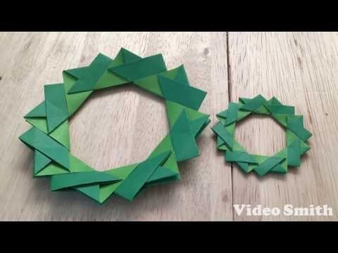 折り紙 クリスマスリース ポインセチアの簡単な折り方(niceno1)Origami Christmas wreath Poinsettia - YouTube
