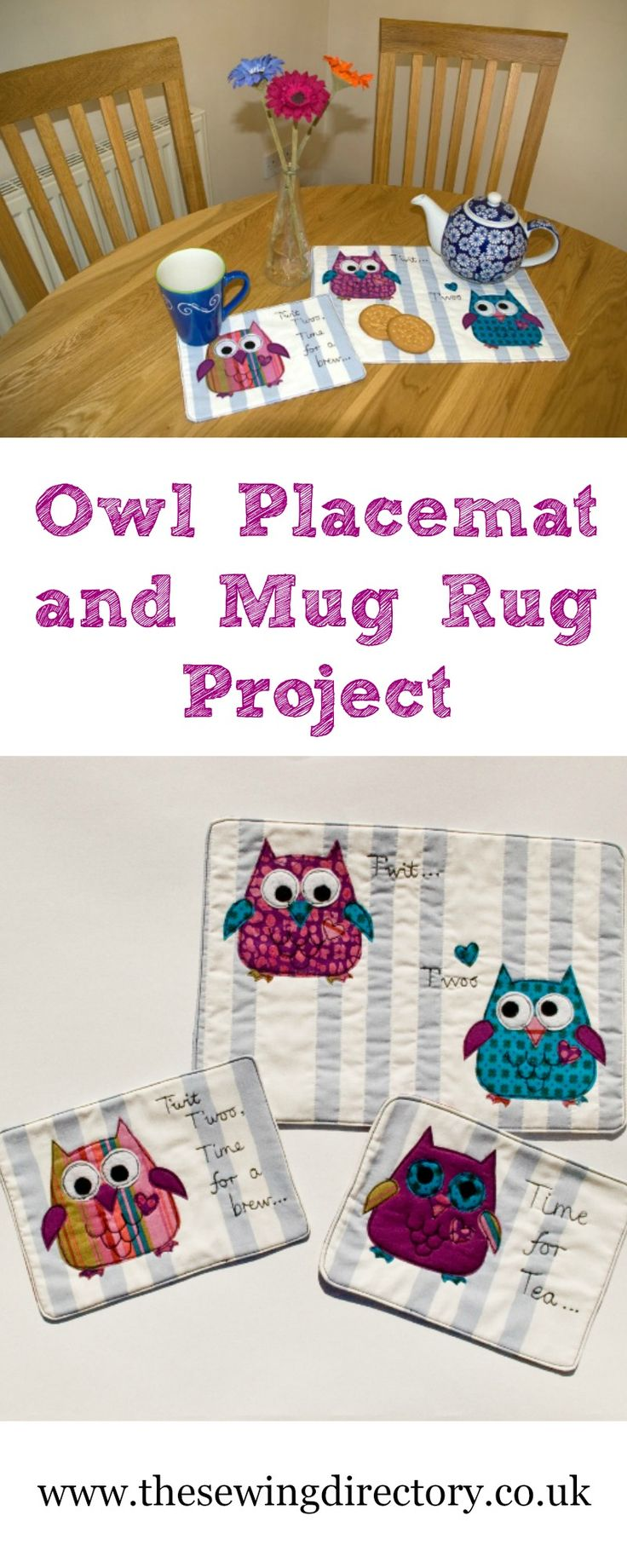 Sew a set of placemats and mug rugs with owl applique with this free sewing tutorial
