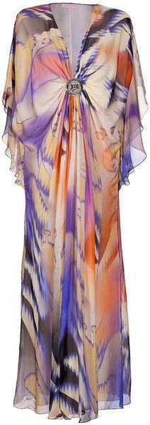 Matthew Williamson Twisted Pleat Kaftan Dress in Multicolor
