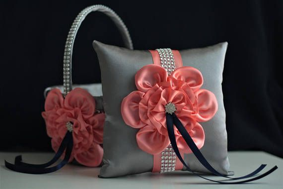 Hey, I found this really awesome Etsy listing at https://www.etsy.com/listing/528071196/gray-coral-navy-wedding-basket-pillow