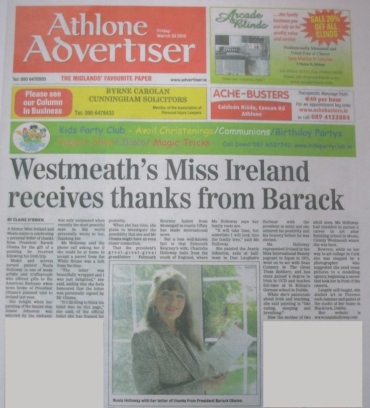 """FROM THE ARCHIVES: Regional media coverage in Westmeath's Athlone Advertiser on 23 March 2012 when Nuala Holloway received a letter of thanks from US President Barack Obama for her Oil on Canvas painting """"Famine Ship - Jeanie Johnston"""". The painting was accepted by the US Embassy in Dublin as a gift for the US President on his first official state visit to Ireland in 2011 #BarackObama #IrishArt #JeanieJohnston #FamineShip"""