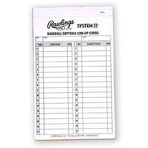 Rawlings System 17 Baseball Amp Softball Line Up Cards