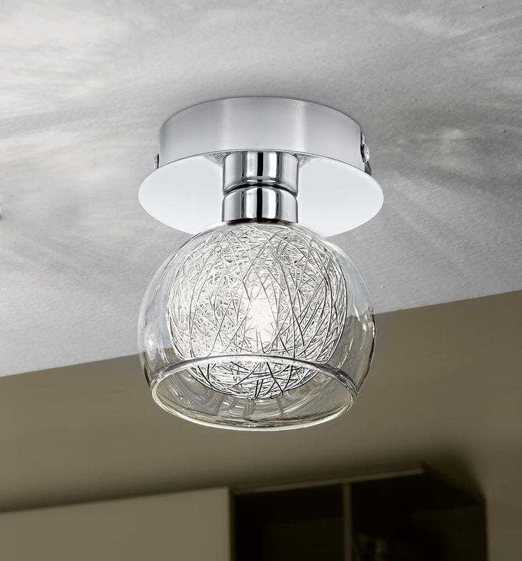 Eglo Lighting / Oviedo / Chrome & Aluminium 1 Lamp Semi Flush Light