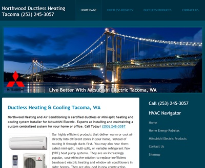 Heating and Air Conditioning Website in Tacoma, WA