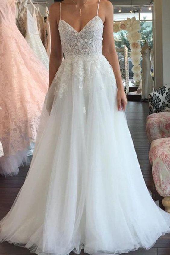 A Line Spaghetti Straps V Neck Floor Ivory Tulle Beach Wedding Dress with Appliq…