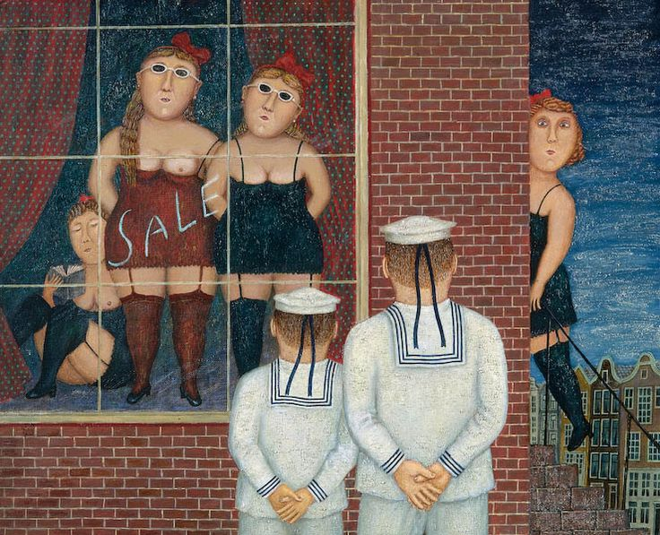 'Sailor Looks at the Ladies' (1997) by Russian painter Vladimir Lyubarov (b.1944). Oil on canvas, 46 х 56 cm. via the artist's site