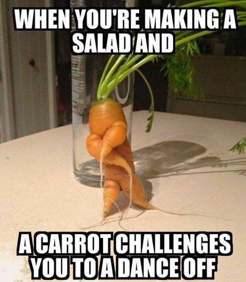 carrot challenges you to a dance off. funny vegetables