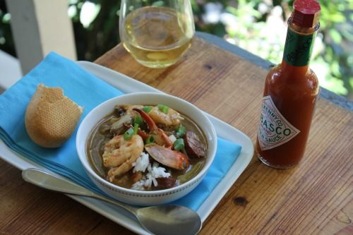 Authentic New Orleans Gumbo Recipe Soups, Main Dishes with medium shrimp, boneless skinless chicken breasts, andouille sausage, vegetable oil, flour, onions, chopped celery, green pepper, seasoning, garlic, fresh thyme, red pepper, chicken stock, diced tomatoes, okra, fresh parsley, bay leaves, Tabasco Pepper Sauce