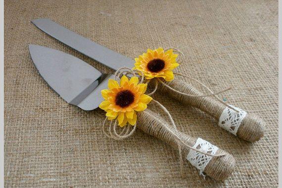 Cake Knife Set Wedding Cake Serving Knife Sunflower rustic Cake Cutter Set Rustic Cake Server Set