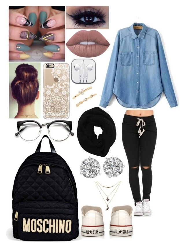 """""""Nude Jean"""" by adavies1115 ❤ liked on Polyvore featuring Wyatt, Lime Crime, Casetify, Moschino, Converse, Forever 21 and Charlotte Russe"""