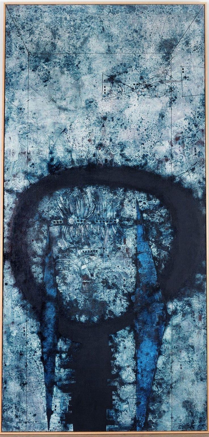 Mikuláš Medek (1926-1974),  Hra na hru na pikolu, olej a email na plátně, 120 x 250 cm