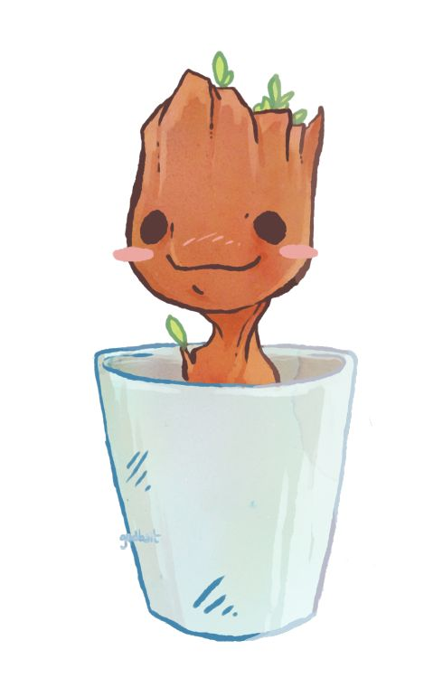 art by godbait:  Little tiny Groot ♡