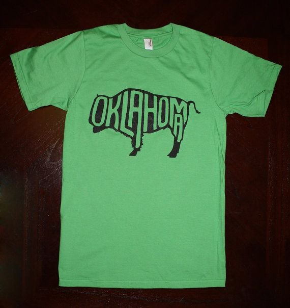 Oklahoma Buffalo TShirt  Green unisex sizes S M L by popprints, $20.00