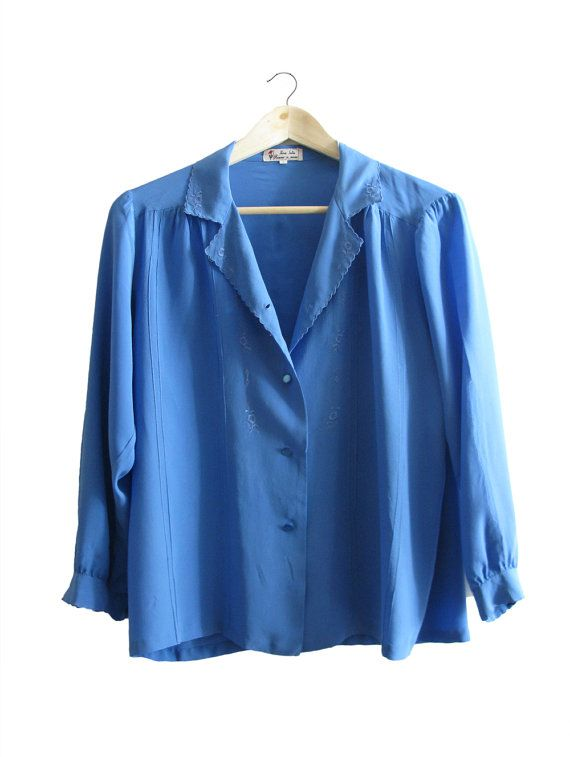 Blue Ebroidered Silk Blouse - 1970. $50,00, via Etsy.