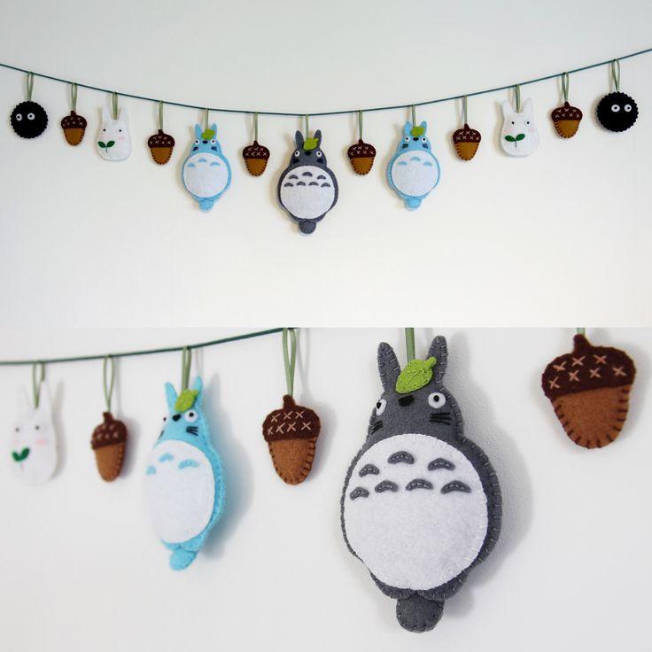 My Neighbor Totoro Felt Garland, Nursery Decor by LittleAcornFelt on Etsy https://www.etsy.com/uk/listing/491336800/my-neighbor-totoro-felt-garland-nursery