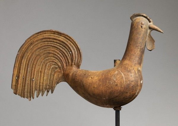 Full Bodied Cockerel Weathervane -  Weathered and Patinated Painted Metal, Now Mounted on Contemporary Stand  European, c.1850