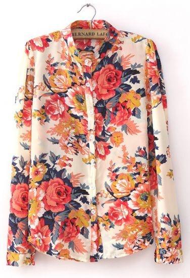 roses button up shirt
