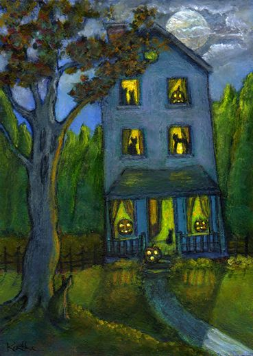 'House of Cats and Jacks' halloween pumpkins jack o'lanterns cat by Kathe Soave, ACEO art card