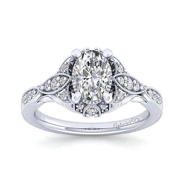 Windsor 14k White Gold Oval Halo Engagement Ring angle 5