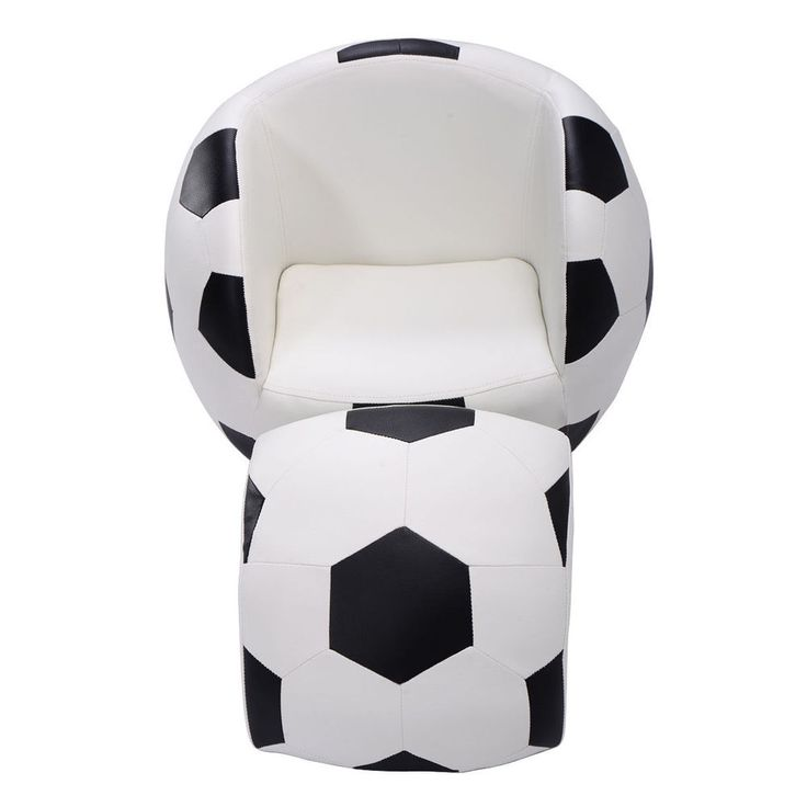 Kid's Chair and Ottoman Boy's Furniture Soccer Shape Sofa Couch  #KidsChair