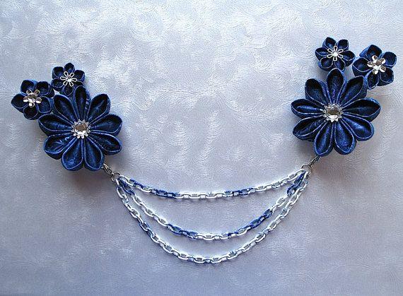 Blue Sky Dreams Kanzashi Flower Drape Clip Bun by MountainMusings