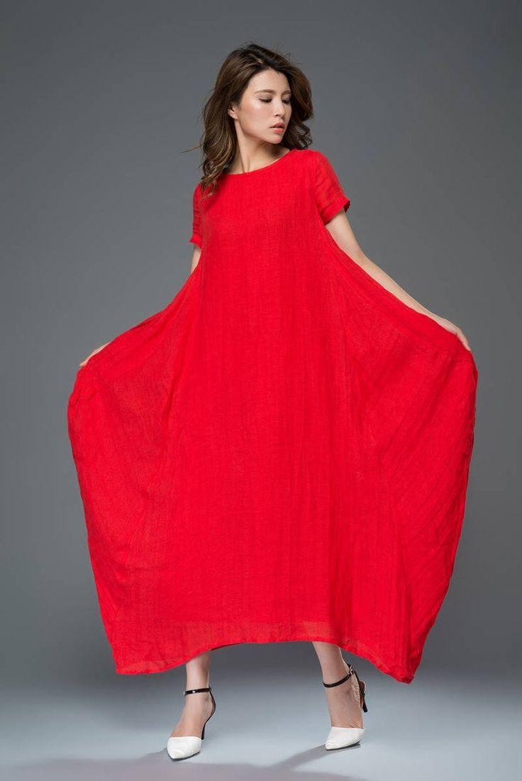 Casual linen dress red lagenlook comfortable loose