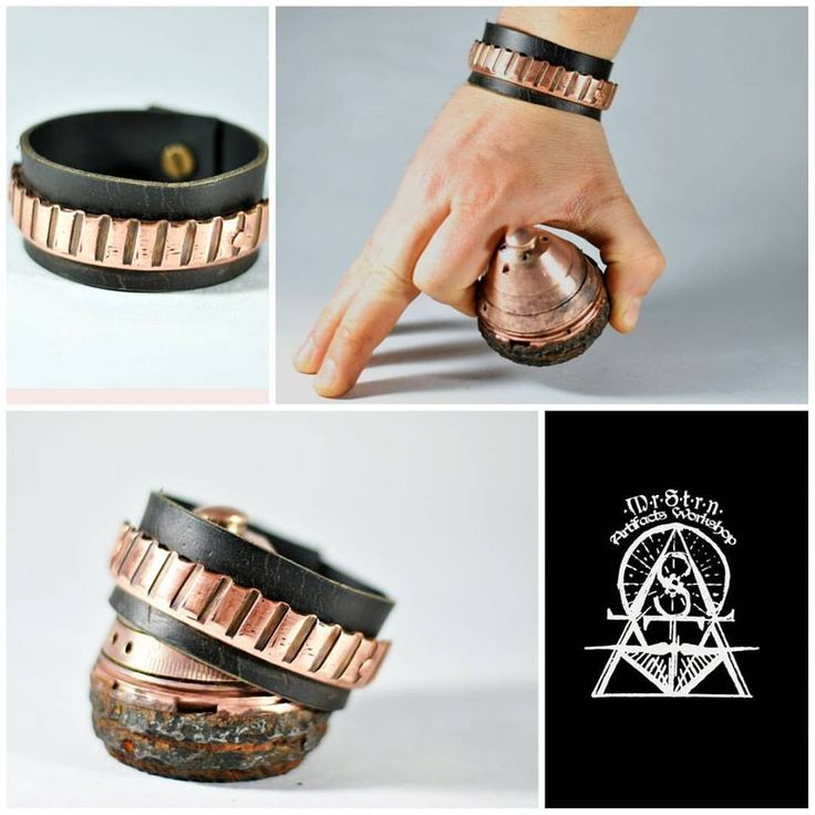 Leather bracelet with a rotating band artillery shell decorative element. The artifact is from the Second World War.