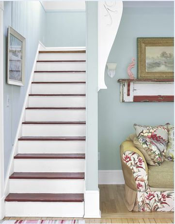 I'm painting my stairs like this on the weekend: chocolate brown treads and white risers.