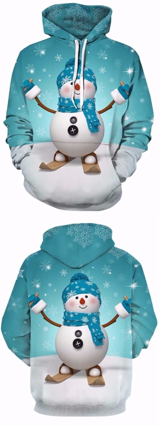 3D Snowman and Snowflake Print Pullover Hoodie