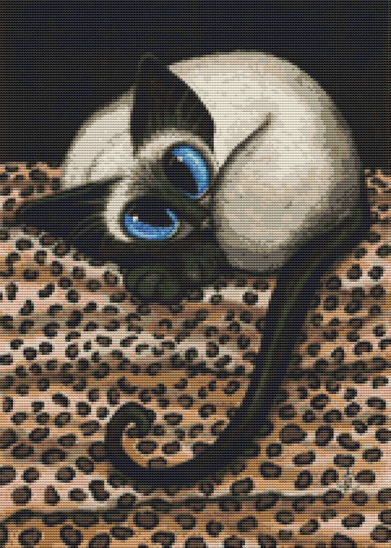 Modern cat cross stitch kit by AmyLyn Bihrle Siamese by GeckoRouge, $71.16