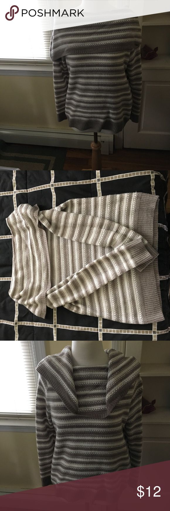 New York and Company Cowl Neck Sweater New York and Company Cowl Neck Sweater. Size medium. Excellent condition. Brown and cream stripes. New York & Company Sweaters Cowl & Turtlenecks