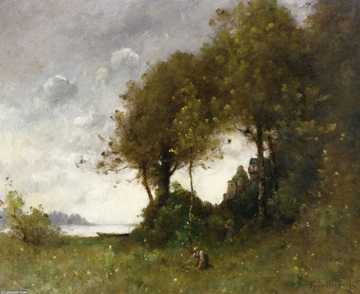 Woman Picking Flowers by the Water