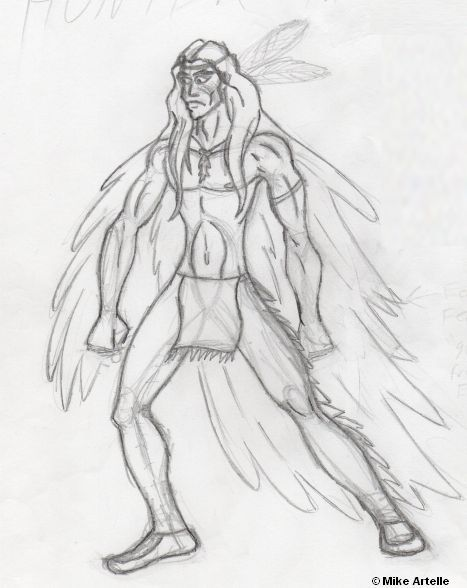 Flying River rough drawing, 2005 By Mikey Artelle This character becomes the superhero Flying Wolf in the Canadian Crusader stories.