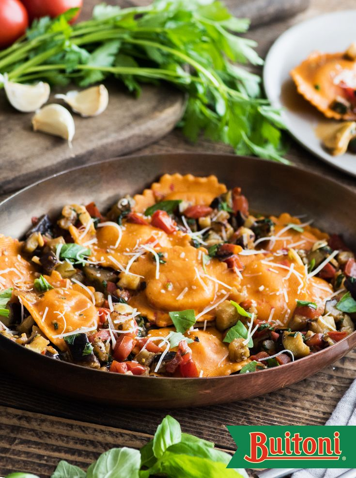 Skillet Sweet Bell Pepper Ravioli with Eggplant