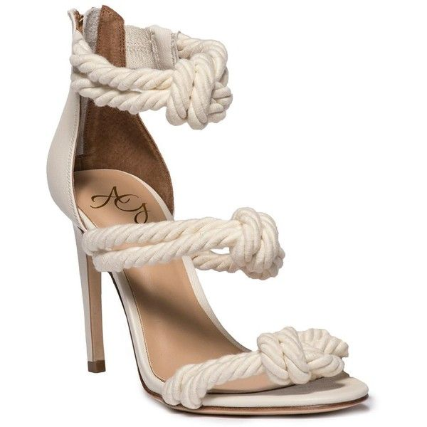 Alejandra G. Women's Caprese - Cream ($275) ❤ liked on Polyvore featuring shoes, sandals, summer footwear, cream sandals, cream high heel shoes, summer sandals and summer shoes