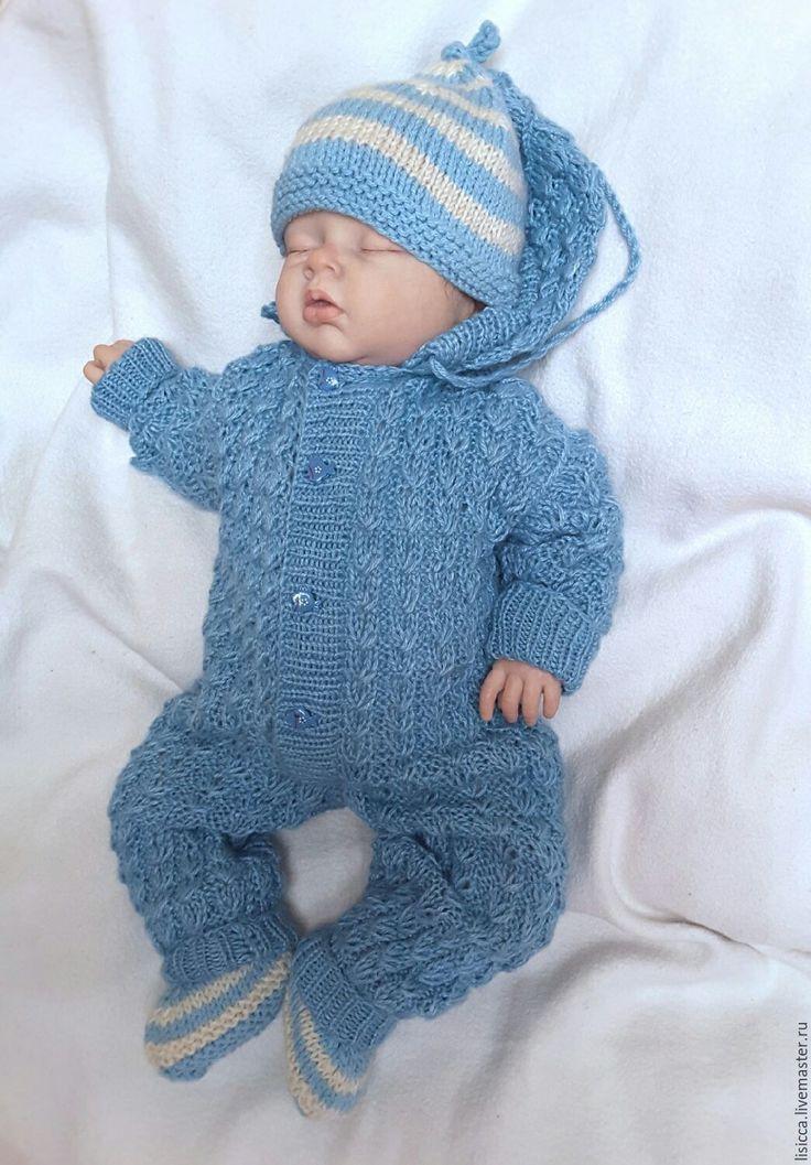 Купить Комбинезон + шапочка + пинетки Лазурный - комплект вязаный, комплект для малыша