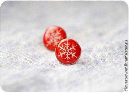 """Серьги ручной работы. Ярмарка Мастеров - ручная работа Новогодние красные серьги """"Снежинки"""". Handmade."""