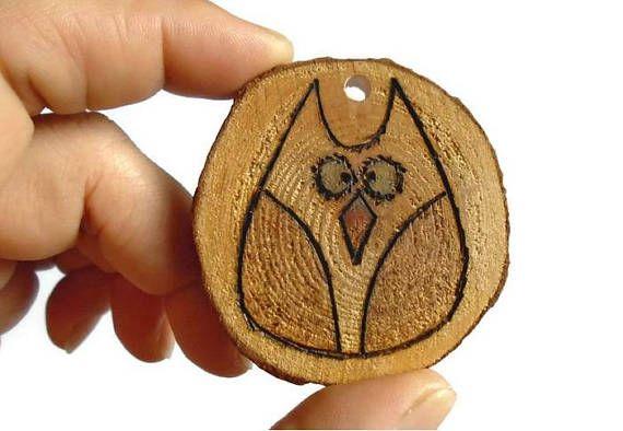 Owl Decoration  Woodland Ornament  Wooden Owl Ornament  Eco