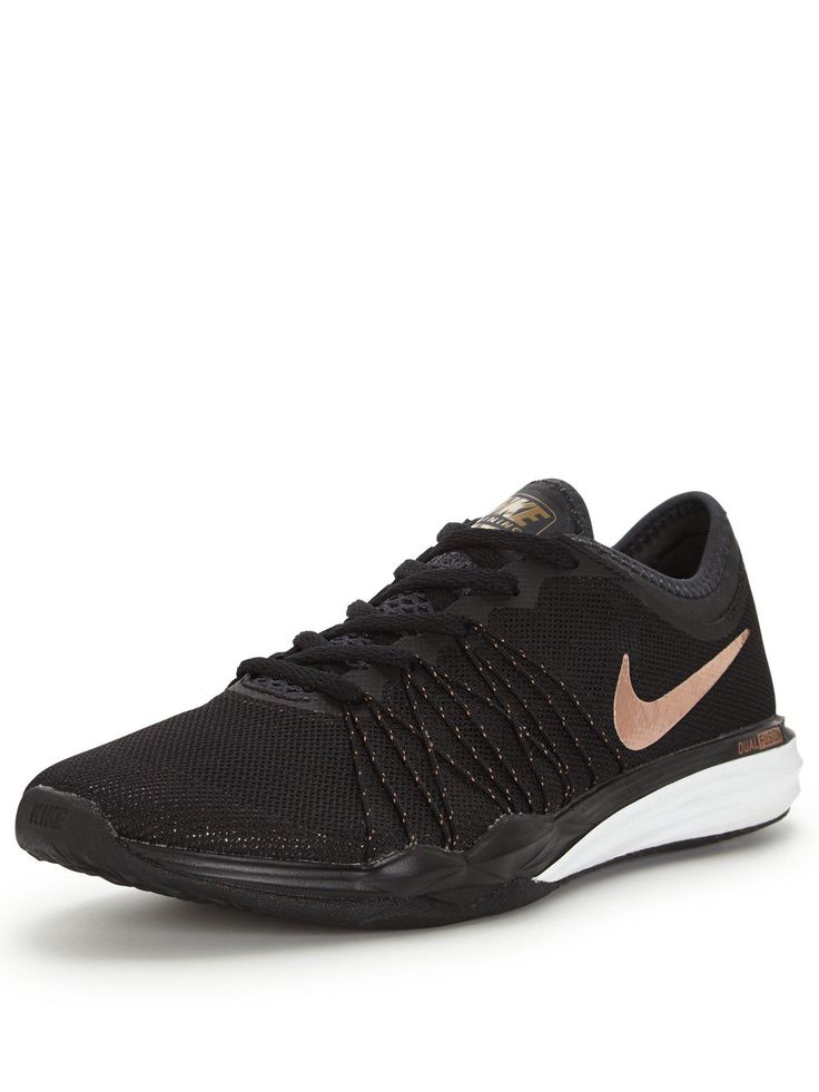 Nike Dual Fusion TR HIT - Black/Bronze TheDual Fusion TR HIT by Nikeofferslightweight supportfor the most intense training sessions! Alocked in feel comes courtesy of Flywirecablesthat wrap your midfootfor a dynamic fit, while theone-piece mesh upperkeeps your kitlight, breathableand ready to move! Aplush foam midsole lendslightweight cushioning,andspiked podsto the forefoot offersaggressive gripduring mountain climbers and burpees. Team with the matching metallic bra and tights when…