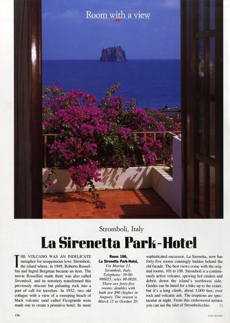 """25 Years of """"Room with a View"""" Photos : Condé Nast Traveler:: ROOM 106 STROMBOLI, ITALY February 1990"""