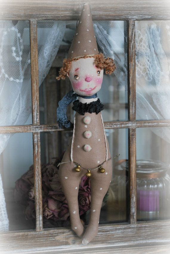 Handmade Primitive DOLL * Vintage Style * Fabric Art * Folk Art Primitive * Pierrot Clown  OOAK  by Natali Sekreta
