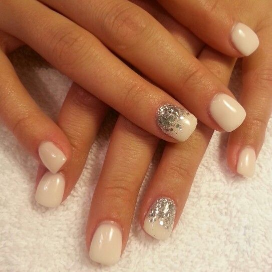 White And Silver For Prom Nail Ideas: White Gel Chunky Silver Glitter Nails
