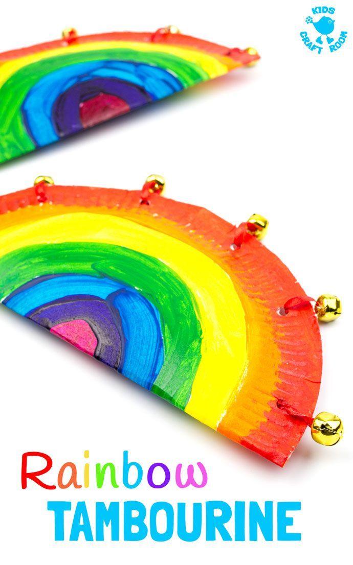 RAINBOW PAPER PLATE TAMBOURINES Kids Craft Room
