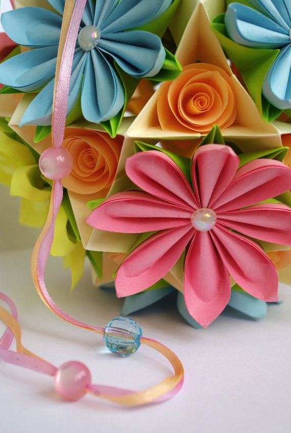 Origami paper ball. Flower Kusudama.